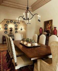 Spanish style homes – Mediterranean Home Decor Dining Room Design, Dining Room Furniture, Dining Room Table, Dining Rooms, Mexican Dining Room, Furniture Stores, Room Chairs, Quinta Interior, Spanish Style Homes
