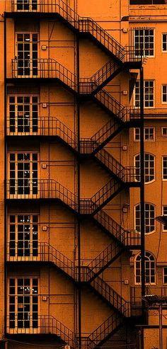 Adelphi Hotel Liverpool. Metal staircase.