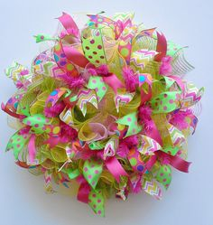 Ruffle Deco Mesh Spring Wreath with lively by WredWrockWreaths, $65.00