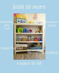 Focar no quanto menos melhor quando organizar seu espaço de brincadeira | Focus on less is more when organize your playspace