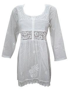 Mogul Indian Tunic Blouse White Cotton Embroidered Short Kurti for Womens (Small) Mogul Interior http://www.amazon.com/dp/B013QNHQ0O/ref=cm_sw_r_pi_dp_DPMYvb0MKCT0E