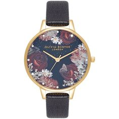 Olivia Burton Demi Dial, Black & Gold Ladies Watch (OB16WG74) Black   WatchShop.com™ Black And Gold Watch, Black Mother, Homemade Jewelry, Lady, Jewelry Watches, Leather, Blossoms, Moonlight, Women