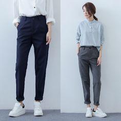 2016 летняя мода женщины офис элегантный серый полосатый печати капри брюки эластичный пояс для pocket брюки случайные женские плюс купить на AliExpress