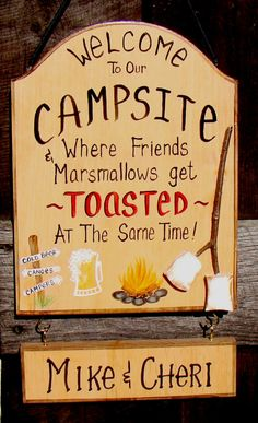 Items similar to Personalized Welcome to our Camp Sign CampSite Fire Beer Marshmallows Friends Get Toasted Personalized with Your Name on Etsy Camper Steps, Camp Signs, Marshmallows, Camping Ideas, Campsite, Canoe, Future House, Welcome, Crafting