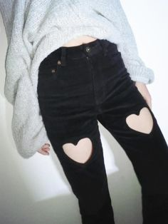 okwowcool: heart cut out pants - $49.99 free shipping! use the codeokaywowcool for 10% off your purchase! kawaii pastel goth gyaru pastel grunge grunge fachin heart pants bottoms free shipping storenvy discount himi