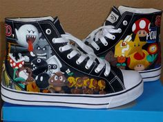 4b5f491b5652ff Check out these awesome Super Mario Brothers high-top sneakers! Each one is  precisely hand-painted by Rachelle Williams of ParadoxArtistry