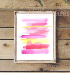 Abstract Watercolor Painting Print Pink by 2LittleCrownsPrints
