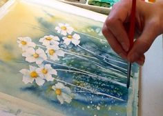 You won't believe how easy it is to paint stunning, vivid flowers in watercolor! We'll show you how to paint a daisy in just 6 steps on Craftsy. Watercolor Projects, Watercolour Tutorials, Watercolor Techniques, Abstract Watercolor, Watercolor Flowers, Watercolor Paintings, Watercolor Beginner, Watercolor Tips, Painting With Watercolors