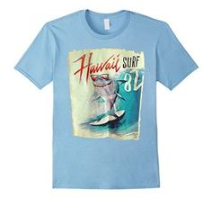 Hawaii surfing aloha Shark 1982 T shirt punk funny tee