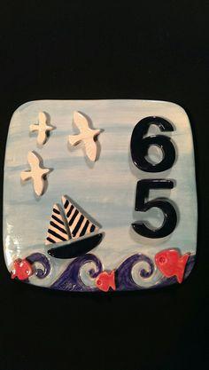 Ceramic house number /Özlem Menekay Pottery Houses, Ceramic Houses, Ceramic Pottery, Ceramic Art, Ceramic House Numbers, House Plaques, Address Plaque, Room Signs, Mural Art