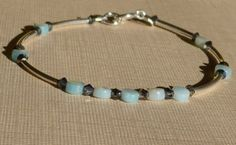 Amazonite Bracelet, Blue Bracelet, Mint Green Bracelet, Sterling Silver Bracelet, Bangle Bracelet, by ThreeMagicGenies on Etsy