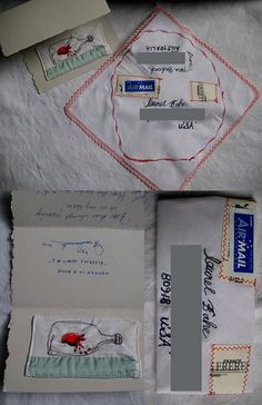 Stitched postcard by Tara Badcock with doiley envelope by Tara Badcock, via Flickr