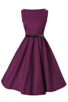 New Classy Audrey Vintage Plum 50s Rockabilly Swing Evening Dress Hepburn Purple   eBay