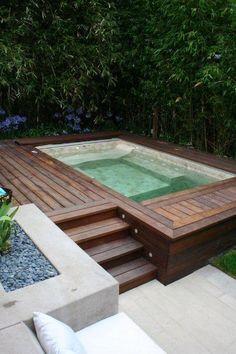 Hot Tub Garden, Hot Tub Backyard, Small Backyard Pools, Small Pools, Backyard Patio Designs, Backyard Ideas, Small Patio, Patio Ideas, Small Backyards