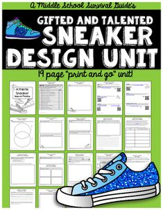 ★ ★ Sneaker Design & Marketing Unit ★ ★  Students work together to research sneaker design, design a sneaker, as well as create a marketing and economic plan for developing their product.