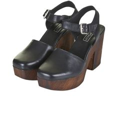 TOPSHOP SMILE Leather Wooden Platform Clogs ($90) ❤ liked on Polyvore featuring shoes, clogs, heels, topshop, sandals, clogs footwear, leather clogs, heeled clogs, clog shoes and genuine leather shoes
