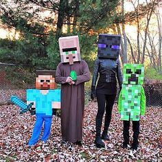We are big Minecraft fans! Our family decided to create costumes and dress up for Halloween this year as Minecraft characters. Here we are dressed as Steve, Villager, Enderman and Creeper. Happy Halloween from the Bischoff family Halloween This Year, Theme Halloween, Family Halloween Costumes, Boy Costumes, Holidays Halloween, Halloween Kids, Halloween Crafts, Happy Halloween, Costume Ideas