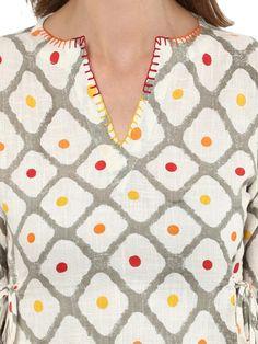 Buy Idalia Women Off White Printed A Line Dress - Dresses for Women 6742713 Embroidery On Kurtis, Hand Embroidery Dress, Kurti Embroidery Design, Hand Embroidery Designs, Neck Designs For Suits, Neckline Designs, Dress Neck Designs, Sleeve Designs, Churidar Neck Designs