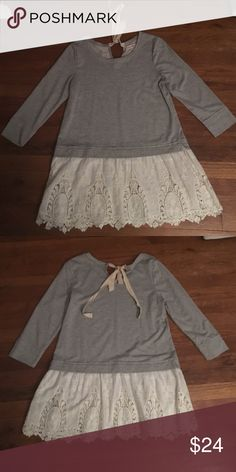 """Light weight sweatshirt with beautiful lace trim Purchased from Altar'd State Boutique. Wonderful grey sweat shirt that ties in back. Measures roughly 31"""" from shoulder to hem.  3/4 slim.  Just a great top for fall. The lace detail is just beautiful! Altar'd State Tops"""