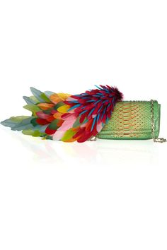 Check out the plumage on this CHRISTIAN LOUBOUTIN 20th Anniversary Artemis Plumes python shoulder bag