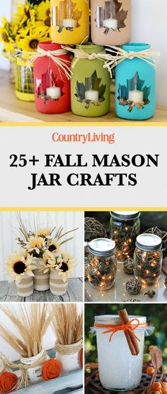 25 Mason Jar Crafts That Will Get You So Excited for Fall. 30 Mason Jar Fall Crafts - Autumn DIY Ideas with Mason Jars. Say hi to the cutest fall crafts you've ever seen! Pot Mason Diy, Fall Mason Jars, Mason Jar Gifts, Mason Jar Fall Crafts, Crafts With Jars, Ideas With Mason Jars, Ideas For Jars, Diy Halloween Mason Jars, Jelly Jar Crafts