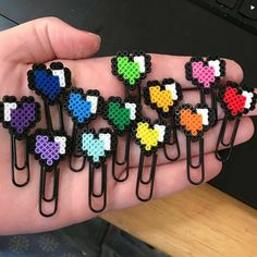 Making some happy heart planner clips this morning! 💙 I'm swapping samples with a couple other shops for the group… Making some happy heart planner clips this morning! 💙 I'm swapping samples with a couple other shops for the group… Perler Bead Designs, Easy Perler Bead Patterns, Melty Bead Patterns, Hama Beads Design, Diy Perler Beads, Perler Bead Art, Pearler Beads, Fuse Beads, Beading Patterns