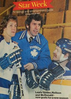 Darryl Sittler, Lanny McDonald, & Roger Neilson Hockey Rules, Hockey Teams, Hockey Players, Ice Hockey, Hockey Pictures, Sports Pictures, Lanny Mcdonald, Canada Hockey, Good Old Times
