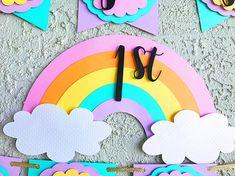 1st Birthday Girl Decorations, Diy Birthday Banner, Girl Birthday Themes, Diy Banner, Happy Birthday Banners, Unicorn Birthday Parties, Birthday Cake Toppers, Unicorn Party, Cloud Party