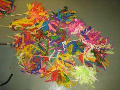 vappuhuiska.Materiaalit: Kreppipaperi Puukeppi Maalarinteippi Holiday Festival, Teaching Art, Crafts For Kids, Projects To Try, Maj, Teacher Stuff, Finland, Festivals, Holidays