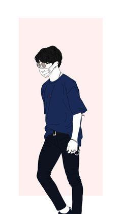Jimin Fanart, Kpop Fanart, Park Jimin Cute, Boy Illustration, Jimin Wallpaper, Kpop Drawings, Handsome Anime, Bts Chibi, Girl And Dog