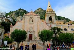 """Taormina, Sicily is a blend of the old, and the very old as the ancient castle looms above the more """"modern"""" churches - what a great town!"""