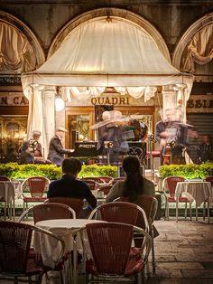 Couple watching a String Quartet at Caffè Quadri on St. Mark's Square - Venice