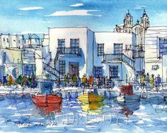 Paros Naoussa Harbour Griechenland Kunstdruck aus original Aquarell