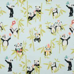 Panda Curtain Fabric - Aqua