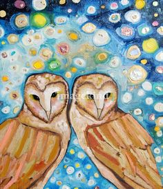 """Two Barn Owls in Fireflies"" by Eli Halpin"
