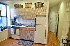 4 Ways To Disguise Horrible, Ugly Kitchen Cupboards // yesandyes.org