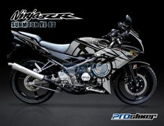 Striping Ninja 150 RR New Hitam Motif SunMoon V1 Hitam Rossi Replica -Cutting Sticker Modifikasi Ninja 150 RR