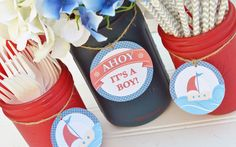 Nautical Baby Shower - Ahoy Its a Boy - Baby Shower Decorations - Sailboat, Baby Boy, Navy Blue, Red - Mason Jar Centerpiece $29.50