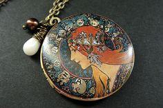Zodiac Woman Necklace. Art Nouveau by StumblingOnSainthood on Etsy, $34.00