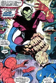 The Super Skrull Challenging Spider Man and the Human Torch