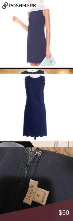 J.Crew Navy Scalloped Dress J.Crew Navy Scalloped Dress. Size: 4. Worn once, like new. J. Crew Dresses Mini
