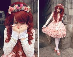 Baby The Stars Shine Bright Floral Jsk (Idk The Name), Liz Lisa Pink Shoes, Taobao Lace Blouse, Gothic Lolita Wigs Princess Collection   Ariel, Handmade Floral Headdress
