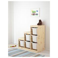 IKEA - TROFAST, Storage combination, pine/white, , A playful and sturdy storage… Ikea Trofast Storage, Toy Storage, Storage Boxes, Toy Boxes, Toy Organizer Ikea, Toy Organization, Organizing Toys, Storage Organizers, Homemade Home Decor