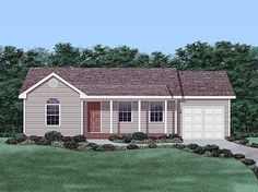 Ranch with Garage House Plan: 863 sq ft