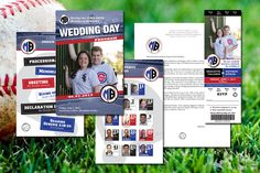 Combine our game day wedding programs with custom event ticket invitations to brand your baseball themed wedding - SportsThemedWeddings.com  #baseballwedding #stwdotcom