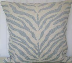 Baby Blue Decorative Pillow Cover 20 x 20 Duralee--Contemporary--Zebra Throw Pillow-- Accent Pillow