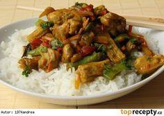 Kuřecí maso na kari s rýží, zeleninou Czech Recipes, Ethnic Recipes, Kung Pao Chicken, Wok, Chicken Recipes, Health Fitness, Food And Drink, Menu, Tasty