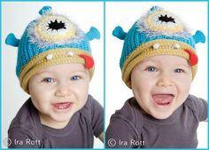 Handmade knit & crochet one eye alien monster hat for newborn to kid sizes.    The perfect hat for your little monster, alien, or beastie.    SIZE :  From newborn to kids