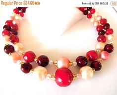 SALE 60's Necklace Double strand Cherry Pink Gold Chunky Statement  Style Fun and Funky! by JewlsinBloom on Etsy
