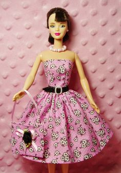 Handmade Barbie Clothes - Flower Dress, Purse, Necklace, Belt and High Heel Shoes. CHOOSE: Dress only or Dress with accessories. by Barbieoutfits on Etsy